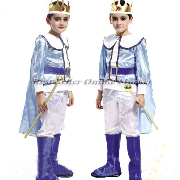 Halloween Costumes Boy Cool Blue Prince Cosplay Clothing Children King Clothes Party Christmas Costume - Best Seller Online Market store