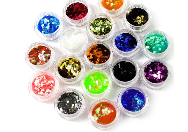18 Colors Nail Art Tips 2mm Big Hexagon Glitter Set Decoration Acrylic UV Gel 3D Decor Dust Powder Cosmetics Decor DIY(China (Mainland))