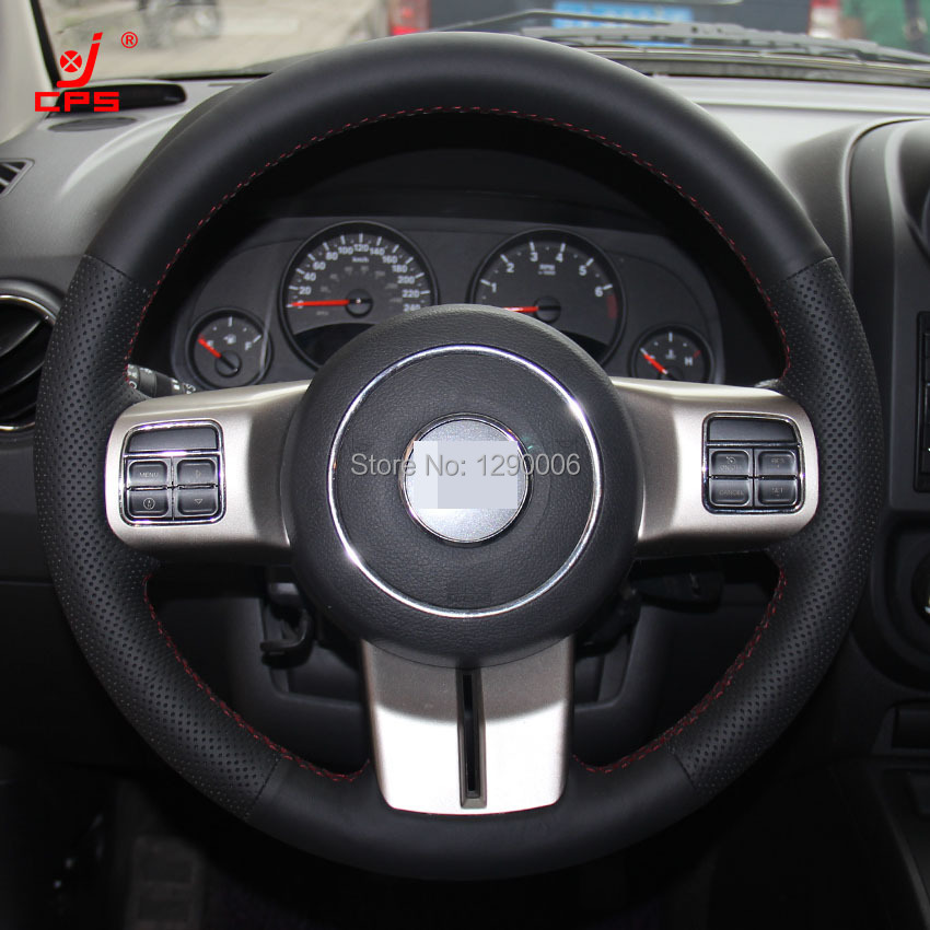 black leather steering wheel cover for jeep compass grand. Black Bedroom Furniture Sets. Home Design Ideas