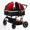 2016 Hot Twin Baby Stroller Widen Seat Pushchairs High Landscape Folding Twin Stroller Sunshade Shockproof Baby