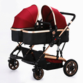 2016 Hot Twin Baby Stroller Widen Seat Pushchairs High Landscape Folding Twin Stroller Sunshade Shockproof Baby