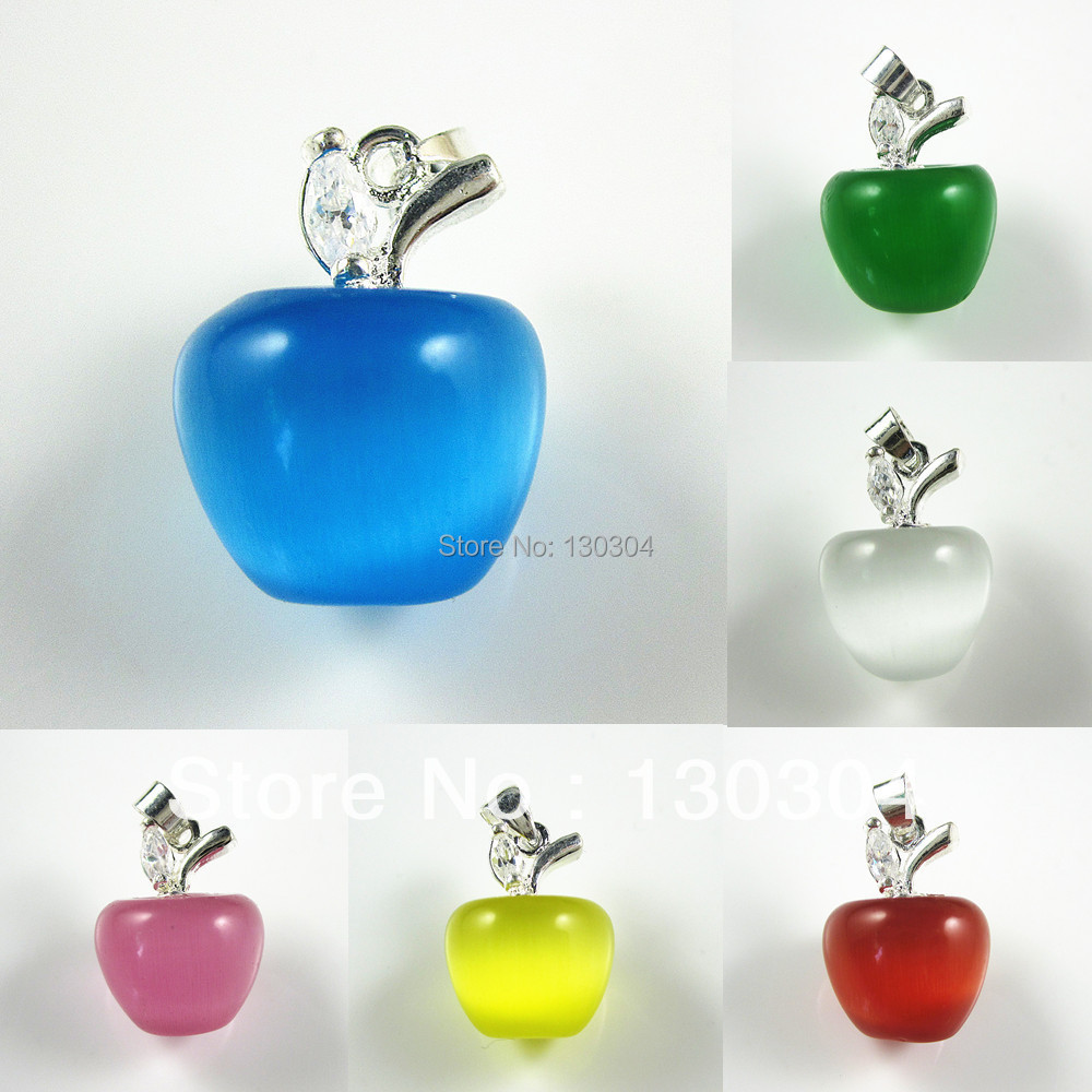 Lots Charm Apple Cat Eye Stone Opal & CZ 925 Sterling Silver Pendant Fit Necklace - Lucky Jewelry Store 130304 store