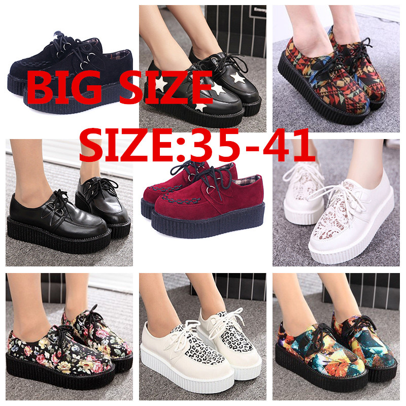 Creepers Shoes Woman zapatos mujer 2015 hot Casual Vintage plus size creepers platform shoes women Flats Shoes Women Size 35-41