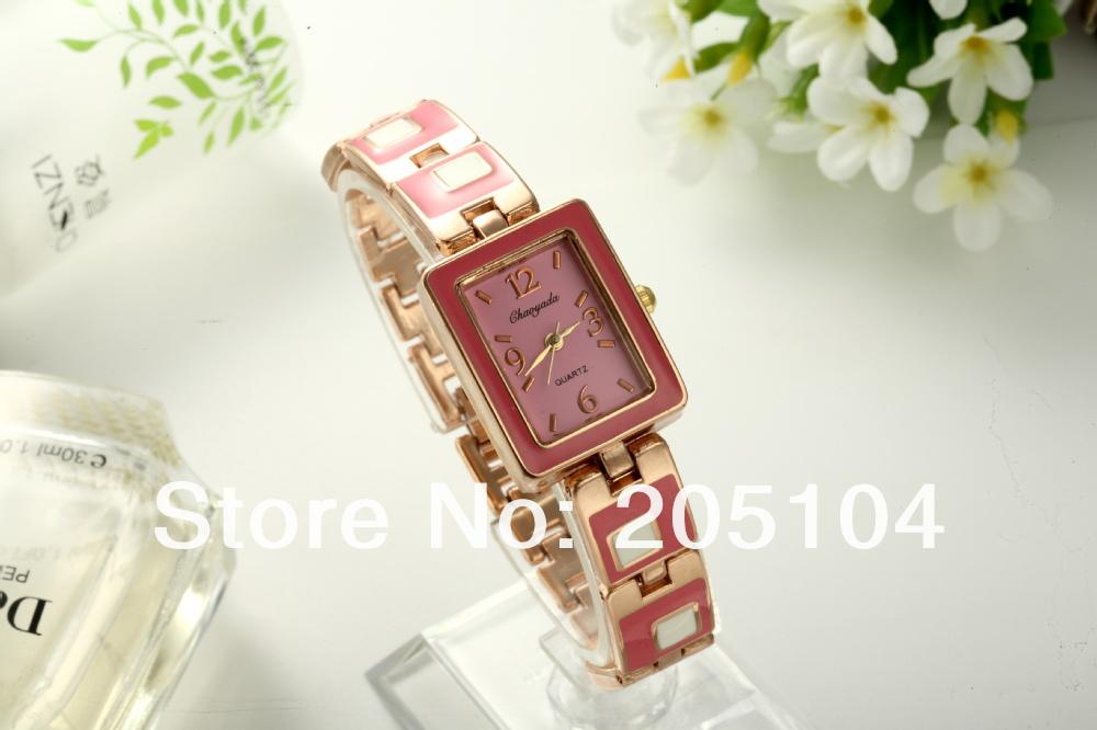 New 2014 Fashion Cute Pink Princess Design Full Steel Watches Elegant Ladies Charm Bracelet Watch Women Dress Quartz Watches(China (Mainland))