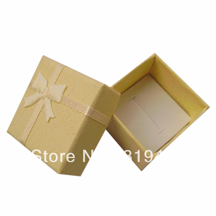 Free shipping yellow Gift Paper Stripe Jewelry Boxes, Ring cases, Earring Box Size 4*4cm 24pcs/lot cheap China display Suppliers(China (Mainland))