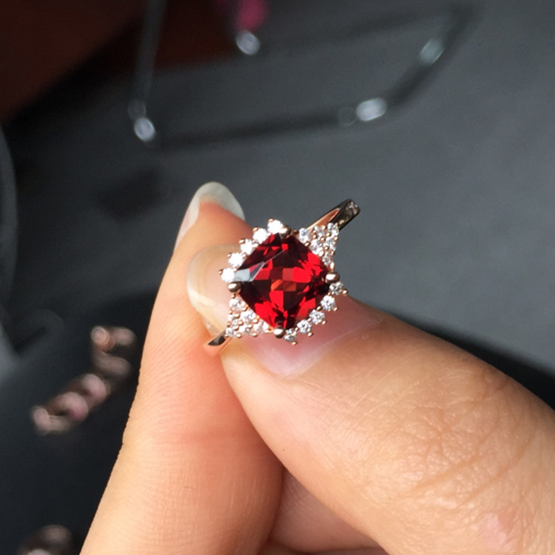 CoLife Jewelry cute square garnet ring for girl wholesale price real 925 stamped silver jewelry gif for woman(China (Mainland))