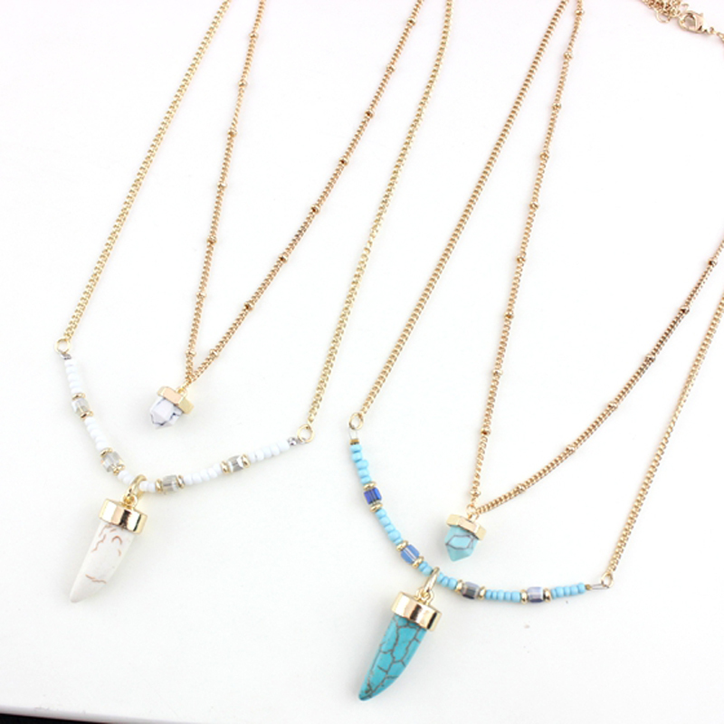 New arrival 2layer statement Turquoise/White Turquoise Pendant necklace for women with moon design party gift Trendy jewelry(China (Mainland))