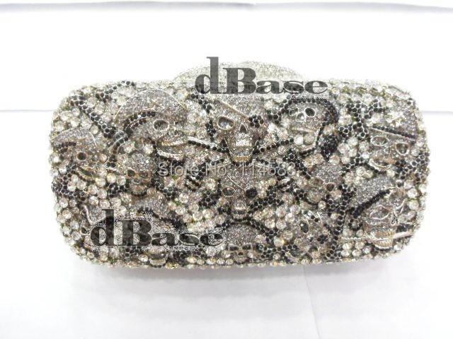 Crystal Pirate skull Lady Fashion Party Silver hollow Metal Evening purse handbag clutch bag