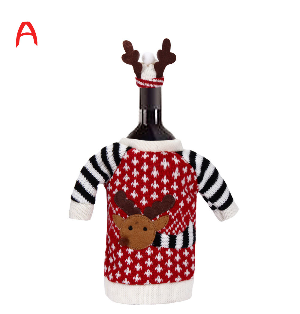 Decoration Home 2015 Christmas Red Wine Bottle Cover Bags Christmas's Party Santa Claus Wool Case Cover For Bottles Wholesale(China (Mainland))