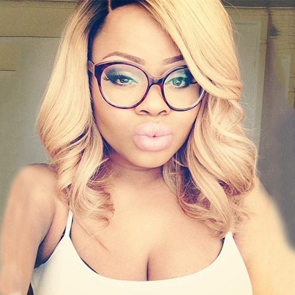 High Quality Kanekalon Synthetic Wigs for Black Woman Ombre black blonde Cheap long African American Bob Wigs