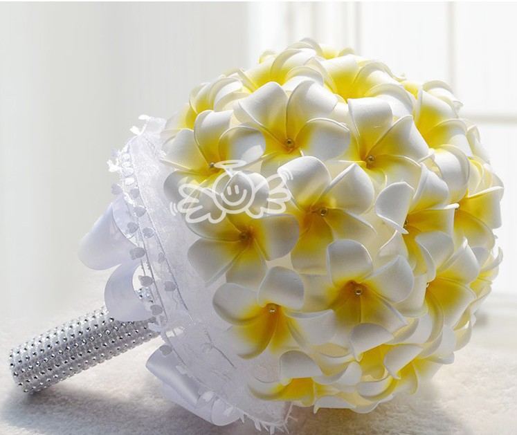 Fake Wedding Flowers Frangipanis : Beautiful yellow and white pu artificial wedding bouquets