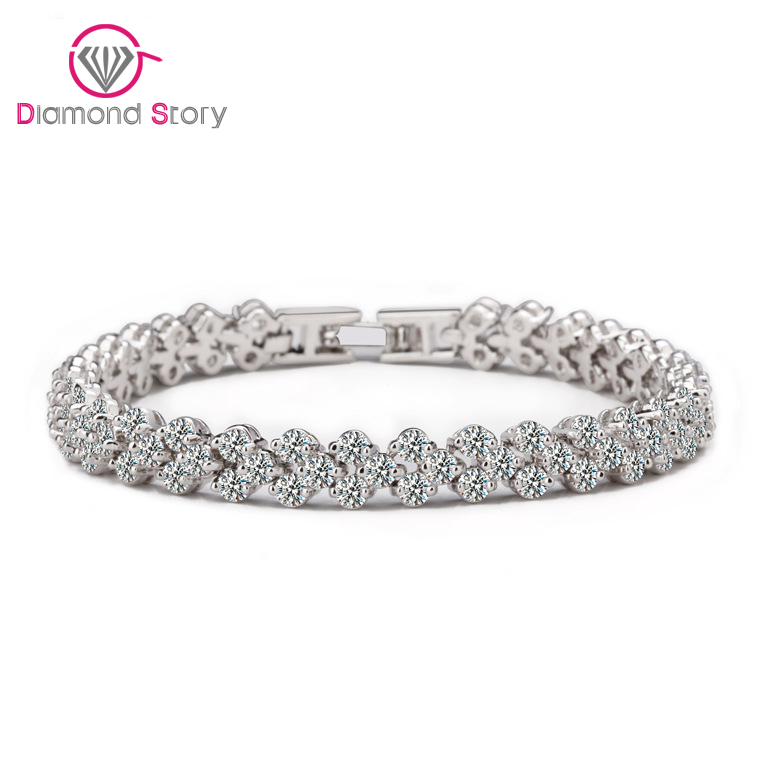 2014 Aliexpress Hot Sell Roman Chain Bracelet For Women Luxury 2.75mm Cubic Zircon Inlay Charm Bracelet Bride Jewelry White Gold(China (Mainland))