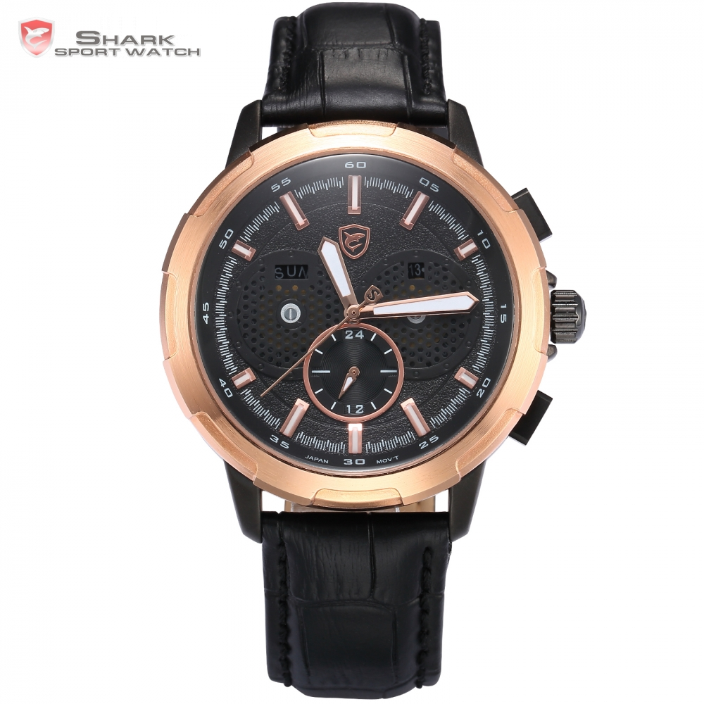 Horn Shark Sport Watch Auto Date Day Gold Rose Case Black Dial Leather Band Quartz Mens Water Resistance Wristwatch Gift / SH355(China (Mainland))