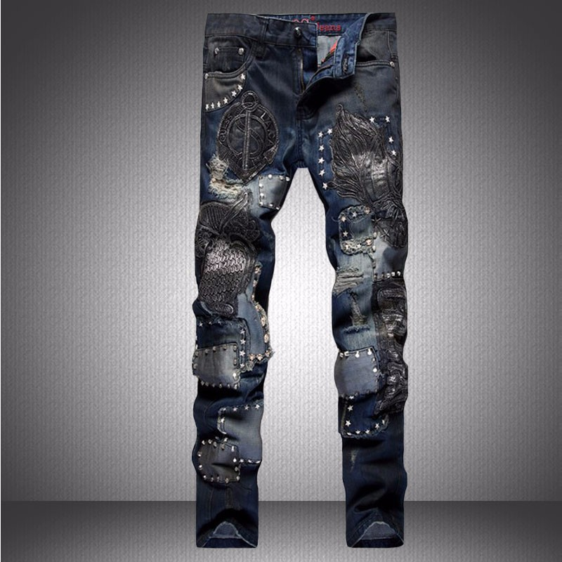 Winter Ripped Jeans Men Fashion Brand Slim fit Denim Trousers Distressed Pants Men Vaqueros Hombre Printed Casual Harem Pants (7)