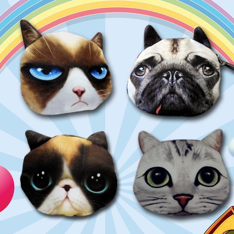 hot sale Women Girls Kids Cute Cat Dog Face 3D Purse Mini Coin Bags Zip Wallets Handbags Polyester BG-0492(China (Mainland))