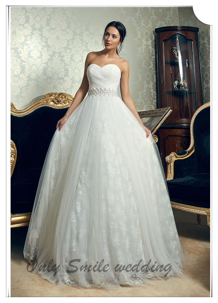 ZJ2001 Newest beaded sash Morden puffy ball gown wedding dress with sweetheart neckline(China (Mainland))