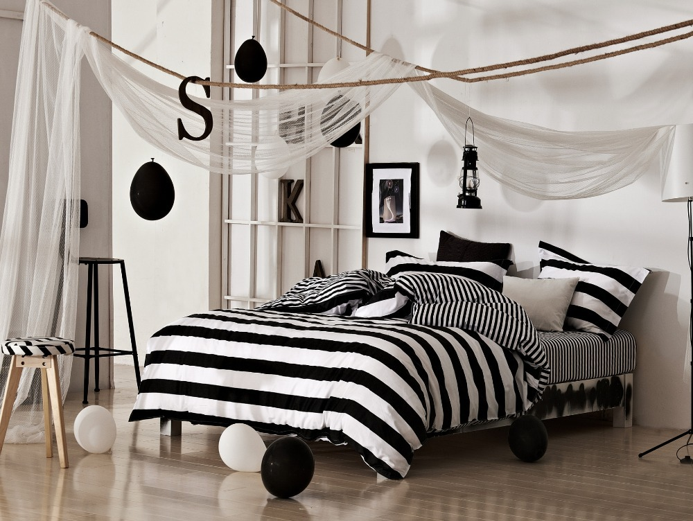black and white classical stripe bedding set new arrival cotton comforter set duvet quilt cover. Black Bedroom Furniture Sets. Home Design Ideas