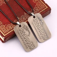 HF11551 12ocs/lot Supernatural License Plate Number Pendant Necklace Letter Tomb Note Jewelry Necklace rope leather necklace(China (Mainland))