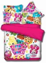 Drop Shipping Shopkins Bedding Sweet Design Pink Home textiles for Girls Brand Duvet Cover 3Pcs Twin Full Queen King Bedclothes(China (Mainland))