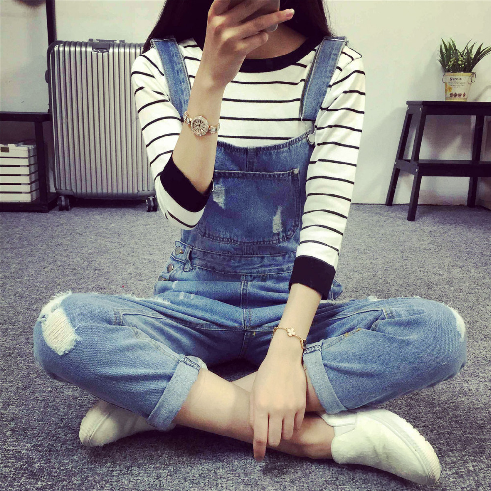 2016 Fashion Korean New Women Jumpsuit Denim Overalls Casual Skinny Girls Pants Jeans Cheap Girls overalls