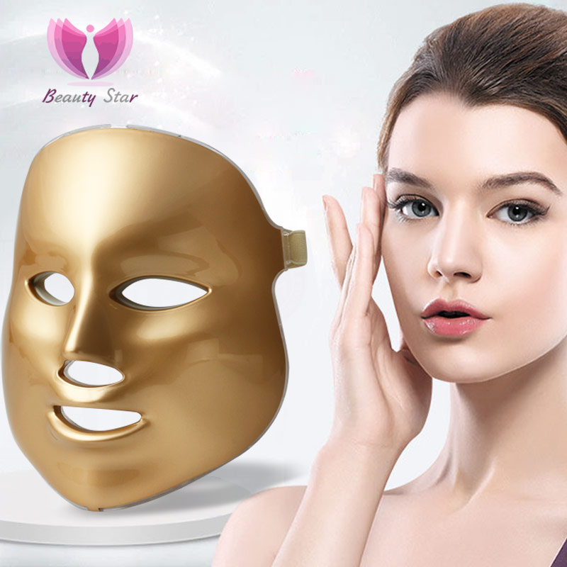 Upgraded Gold Photon LED Facial Mask Skin Rejuvenation Anti-Aging Beauty Therapy 3 Colors Light for Home Use Beauty Instrument(China (Mainland))