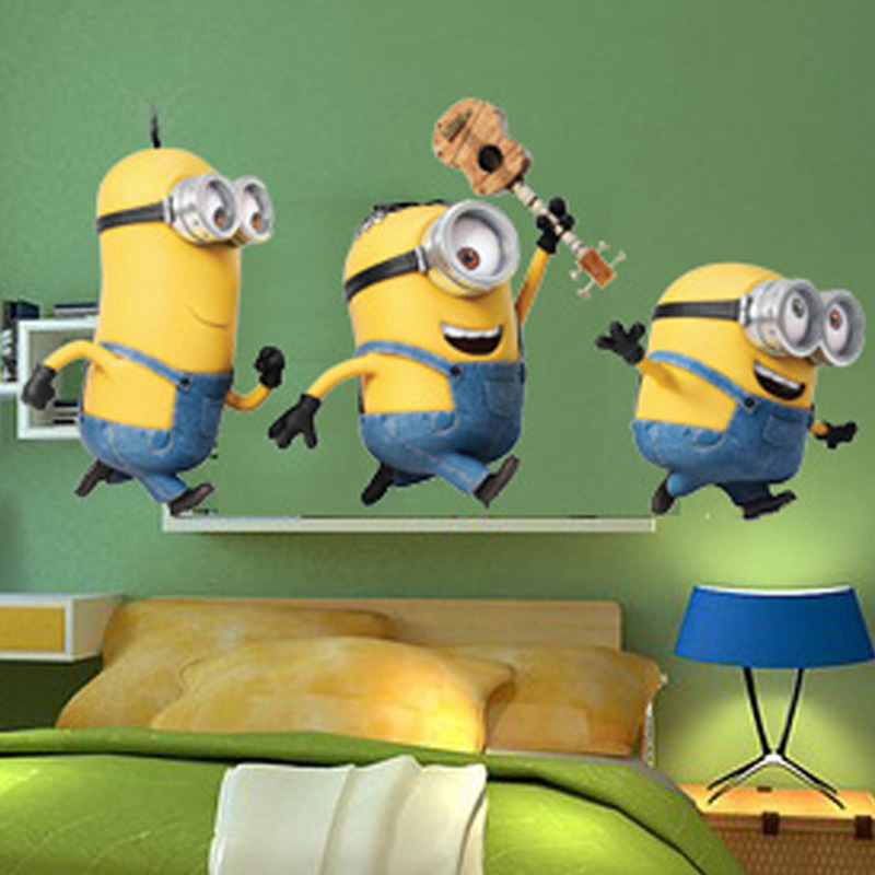 Cartone animato cattivissimo me minion wall stickers per la camera dei ...