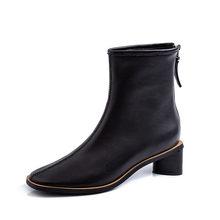 ISNOM Yılan Derisi yarım çizmeler Kadın Kare Ayak Zip Patik Kadın deri ayakkabı Kadın Kalın Topuklu Ayakkabılar Bayanlar Kış 2019 Yeni(China)