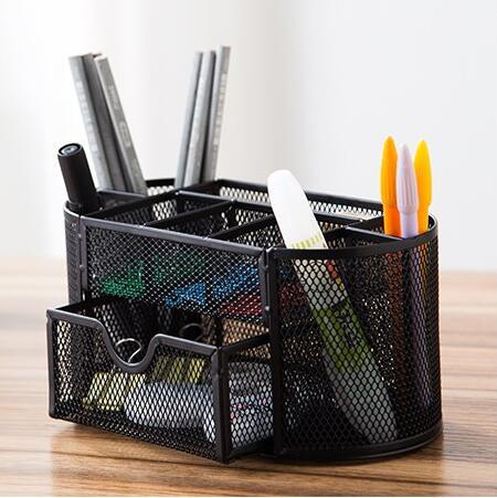 9-Compartments Multifunctional Desk Organizer Pencil Cup Pen Holder Office Supplies Desktop Stationery Storage Box (Black)(China (Mainland))