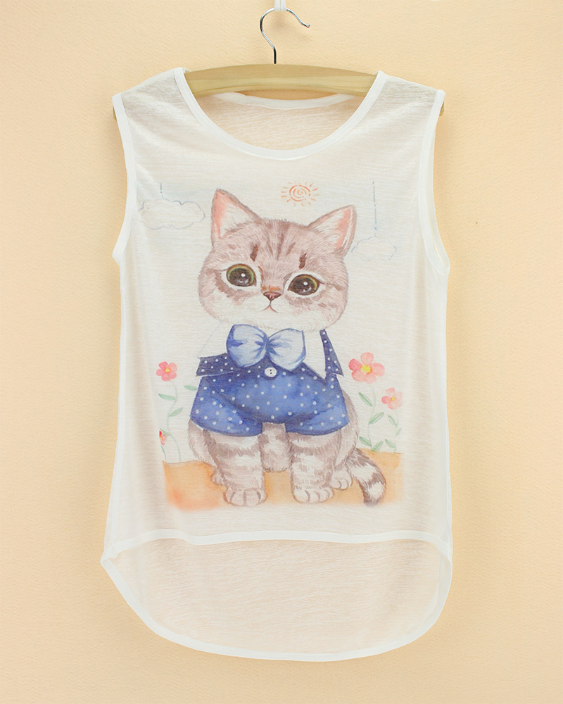girls top sleeveless see through thin soft animal printed children t shirt 2015 summer cool kids cat cheap bamboo cotton tee(China (Mainland))