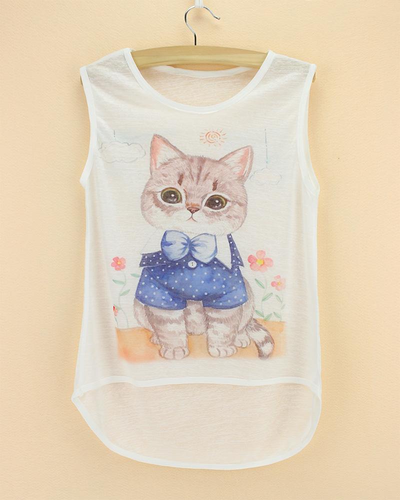 girls top sleeveless see through thin soft animal printed children t shirt 2015 summer cool kids cat cheap bamboo cotton tee(China (Mainland))