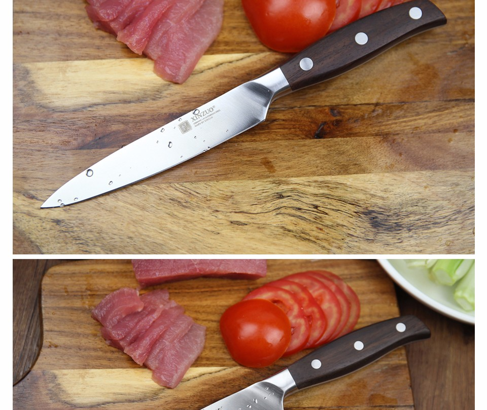 Buy XINZUO NEW High quality 3.5+5+8+8+8inch paring utility cleaver Chef bread knife stainless steel Kitchen Knife sets free shipping cheap