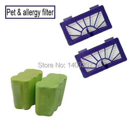 For Neato XV-11 XV-12 XV-14 XV-15 XV-21 Vacuum Cleaner Accessory 2 Batteries+2 Pet Allergy Filters For Neato Battery Set Filter(China (Mainland))