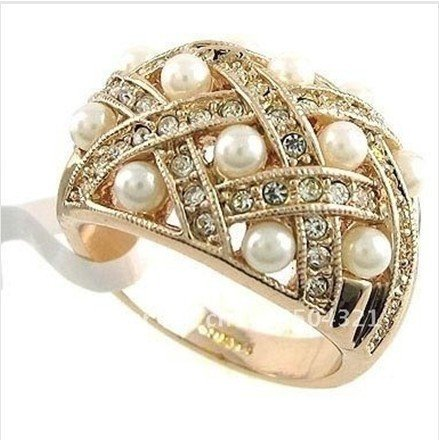 New Wholesale Hot Beautiful Jewellery 6.24ct zircon pearl 14k Solid Yellow Gold Diamand Rings 10pc/lot mixed orde free shipping