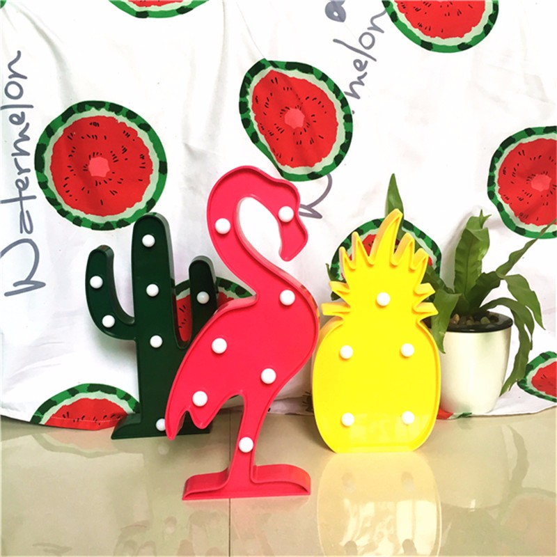 Lumiparty 3D LEDShine Flamingo Lamp Pineapple Table Light Cactus Night Lamp Marquee LED Letter Nightlight Christmas Decoration