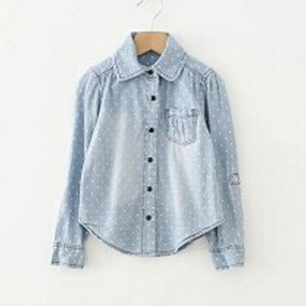 Newest Baby Girl Kid Denim Blouse Long Sleeve Polka Dots Shirt Lapel Cowboy Clothes 2-7Y Free Shipping<br><br>Aliexpress