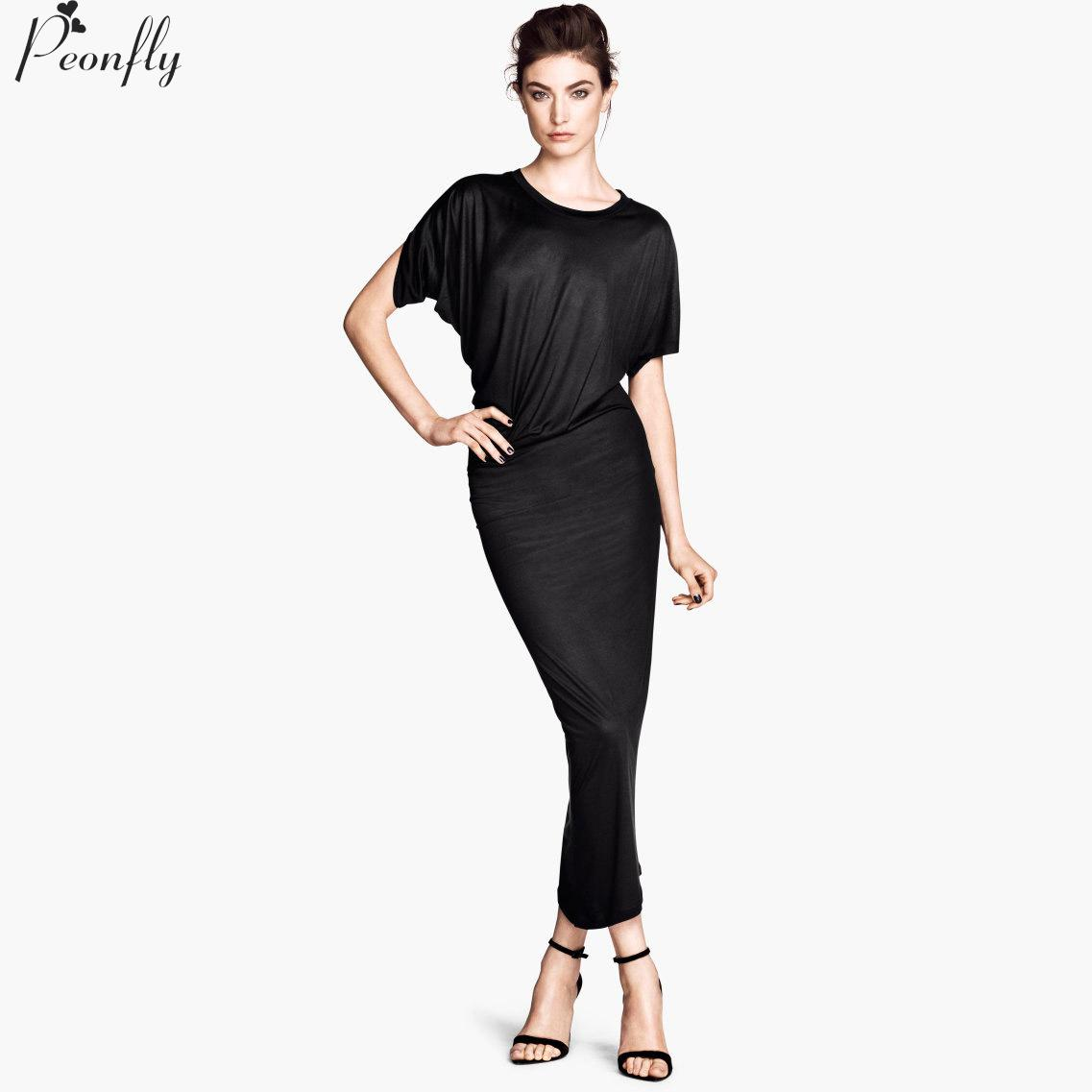 2016 Summer Long Dresses Asymmetric Cut Drape Slim Stretch Knit Short Sleeve Casual Dress Black And Gray 2 Colors(China (Mainland))