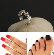 Women Lady Elegant Adjustable Antique Plated Silver Metal Toe Ring Foot Beach Jewelry R108(China (Mainland))