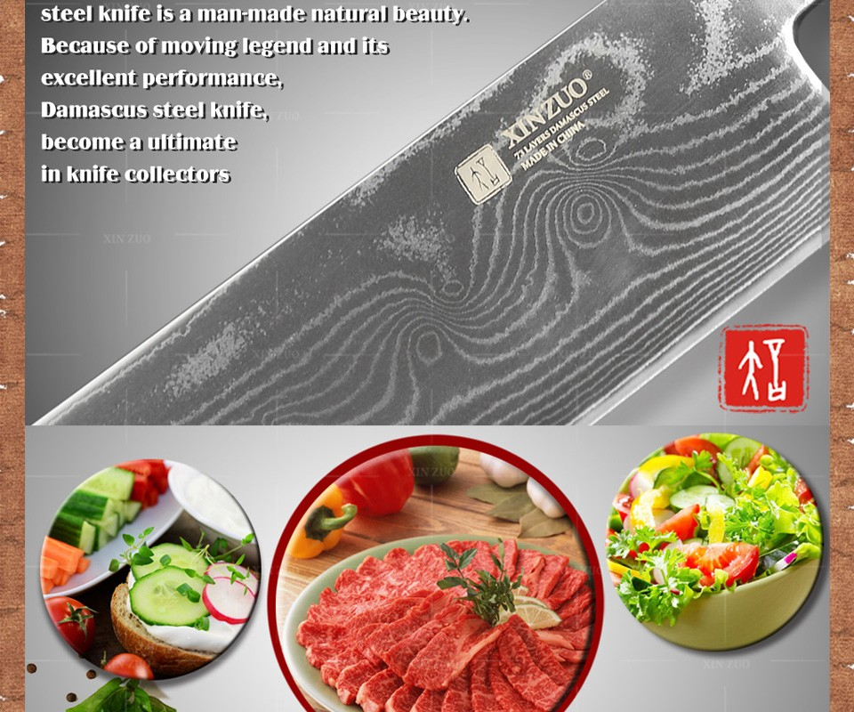 Buy 2016 NEWEST HIGH QUALITY XINZUO 7 inch kitchen knife Japanese 73 layers VG10 Damascus steel chef knife Japanese free shipping cheap
