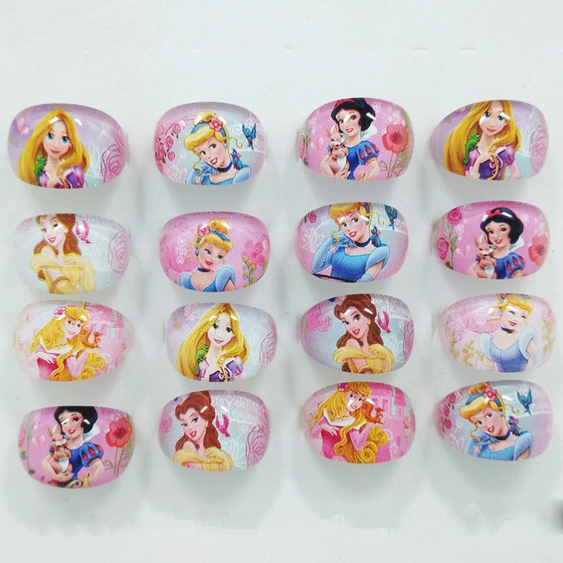 Qinz Jewelry Shop 2016 New Mixed Girls Lucite Children Kids 20Pcs Cartoon Girls Snow White Rapunzel Princess Lucite Rings Gift(China (Mainland))