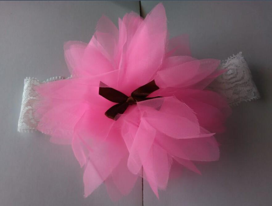 Топ продать малыш малыш головные уборы новый цветок шифон детские hairbands, Детские аксессуары для волос девушки кружева повязка на голову младенец Hairband 56