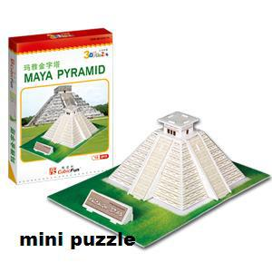 Freeshipping! MINI CubicFun 3D Jigsaw Puzzle MAYA PYRAMID 3D paper model,DIY puzzle,Best Educational toys S3011(China (Mainland))