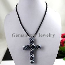 """Free Shipping! Handmade Pearls Cross Pendant Freshwater Pearls Pendant Fit 17"""" Leather Chain 1pcs/lot(China (Mainland))"""