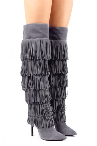 Jeffery Go Lightly Tiered Fringe Over the Knee HIgh Thigh High Boots Suede Pointed Toe Women Boots Genuine Leather Shoes Women(China (Mainland))