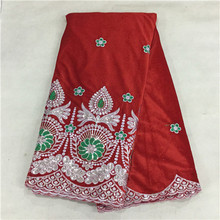 (5yards/lot)! RED African Velvet Lace fabric sequins! French silk velvet lace dress xx-16L - Guangzhou tesco lace/shoes/wax shop store