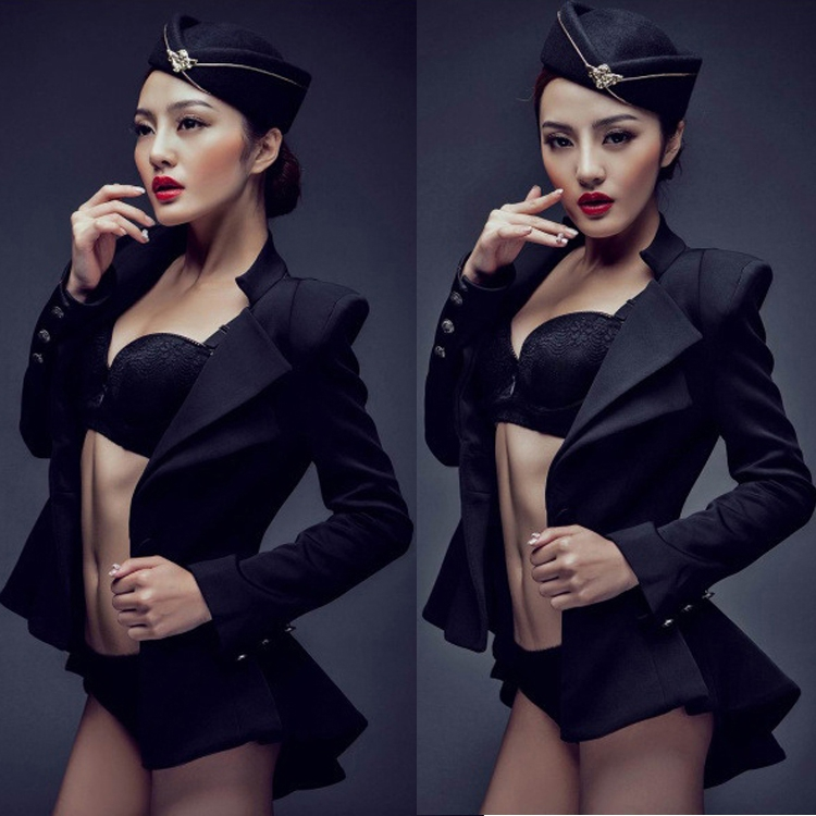 2015 black photo studio photography theme clothing sexy stewardess individual owners artistic license DS stage show costumesОдежда и ак�е��уары<br><br><br>Aliexpress