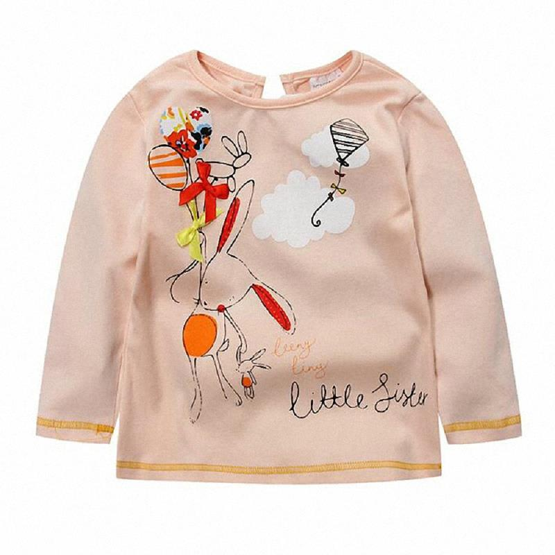 Baby Girl Cloth Bow Print Cotton Blouse Long Sleeve Tshirts Kids Toddler Infant Tees Clothes Cartoon Letter Little Sister Style(China (Mainland))