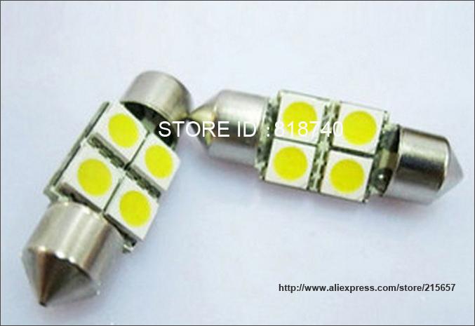 Wholesale 100pcs/lot white 4 LED 4 smd Festoon Dome Car Bulb C5W 211 212 12V 31mm 4SMD 4led 5050 Car dome light(China (Mainland))