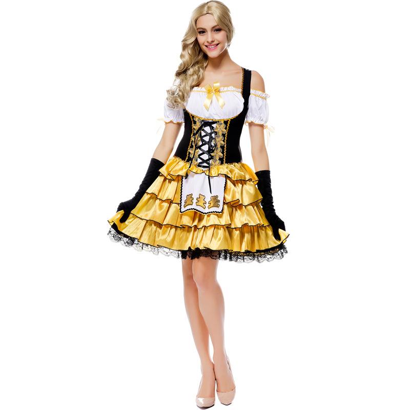 2016 newest Women Sexy Goldilocks Fairy tale Halloween Costumes Blonde princess fandy dress(China (Mainland))