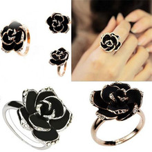 Hot Sale 2015 New Arrival Black Rose Flower Cute Female Ring with Rhinestones Free Shipping Wholesale and Retails Best Gift ln