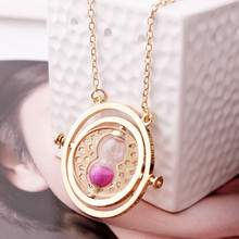 Harry Potter Hermione Granger Rotating Time Turner Necklace Gold Hourglass 1pc(China (Mainland))